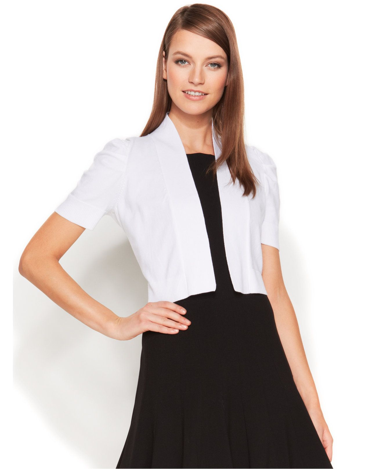 Calvin Klein Ruched Short-Sleeve Shrug Cardigan - Sweaters - Women ...