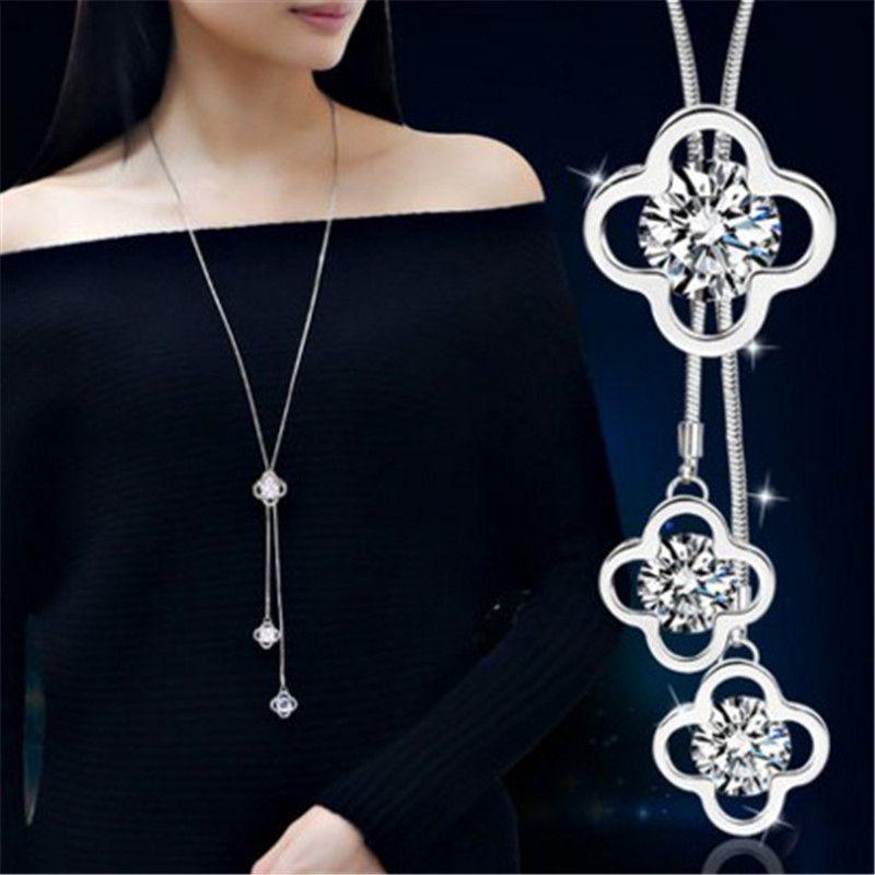 Lemon value fascini di modo dichiarazione zircone pendente del fiore dell'annata maxi rhinestone di cristallo lunga collana gioielli delle donne regalo a159