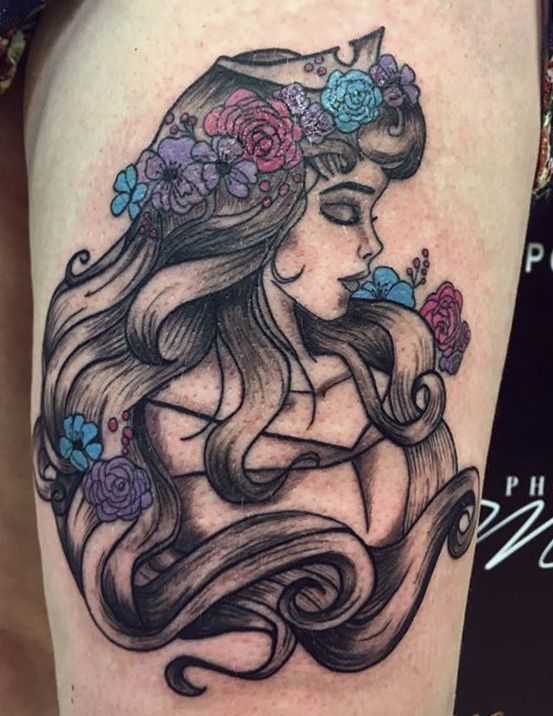 Chickasaw Tattoo : chickasaw, tattoo, Princess, Thigh, Tattoo,, Colour,, Traditional, Chickasaw, Tattoos,, Disney, Tattoos