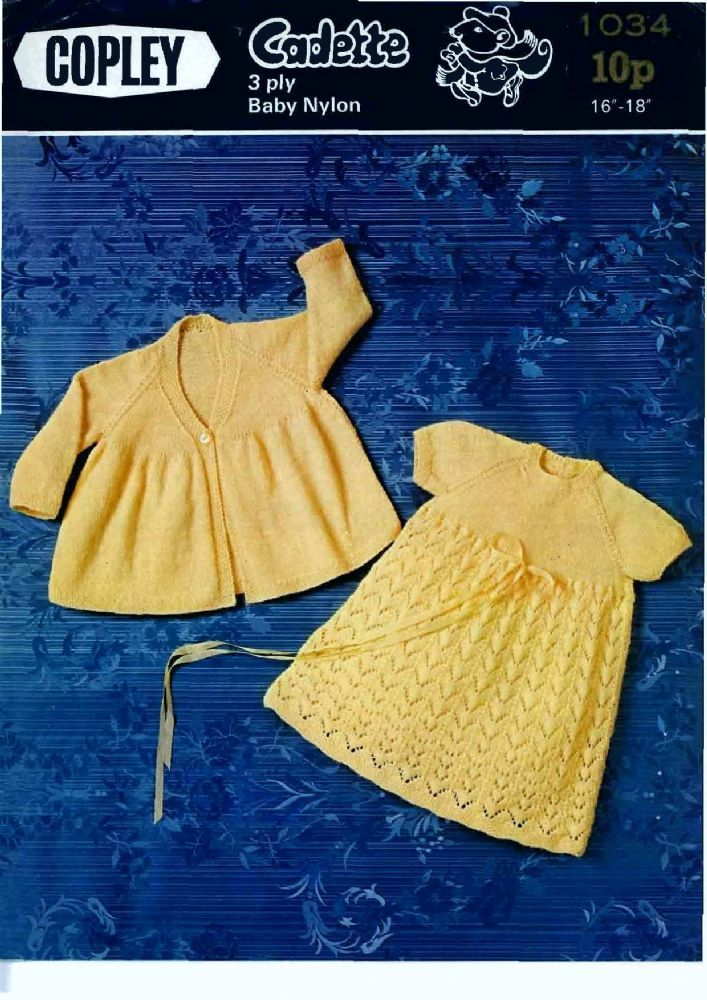 PDF Digital Vintage Knitting Pattern Copley 1034 Baby Dress and Coat ...