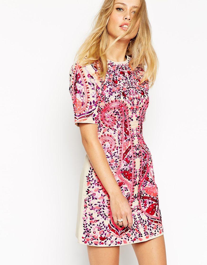 Vestido recto bordado de ASOS | Vestidos | Pinterest | Vestido recto ...
