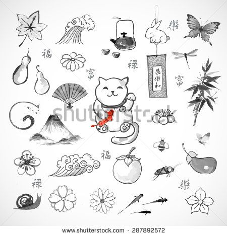 Traditional Japanese Symbols Of Luck Well Being And Happiness Hand