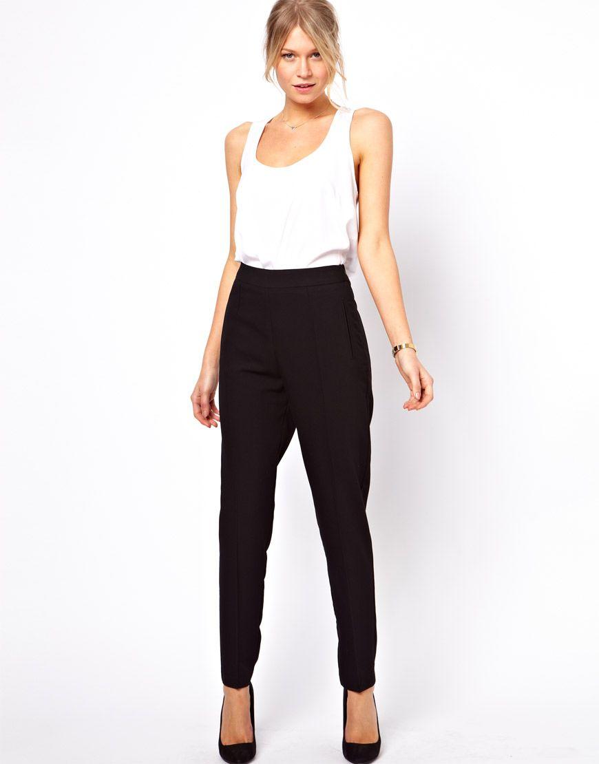 black trousers, white tank