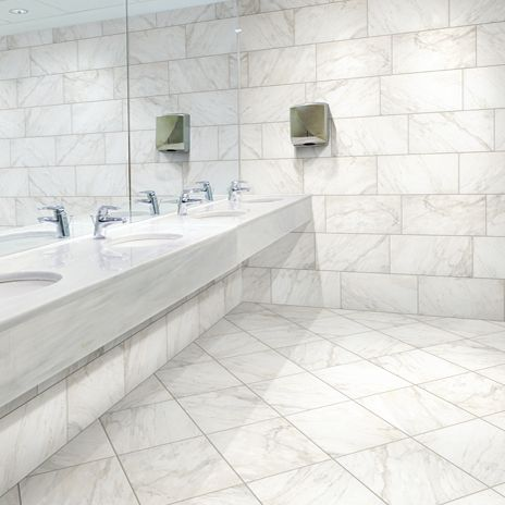 While This Tile Looks Like Marble It Is Actually An Eco Friendly Glazed Porcelain Used By Many Designers To Make A Bathroom Greener