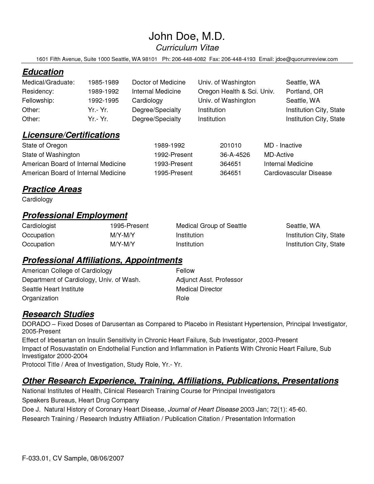 Physician Resumes Cv Template Resident Physician 1 Cv Template Cv Template Cv