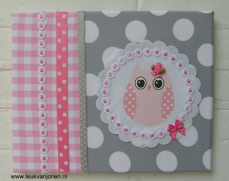 schilderij uil roze-grijs | babykamer | pinterest, Deco ideeën