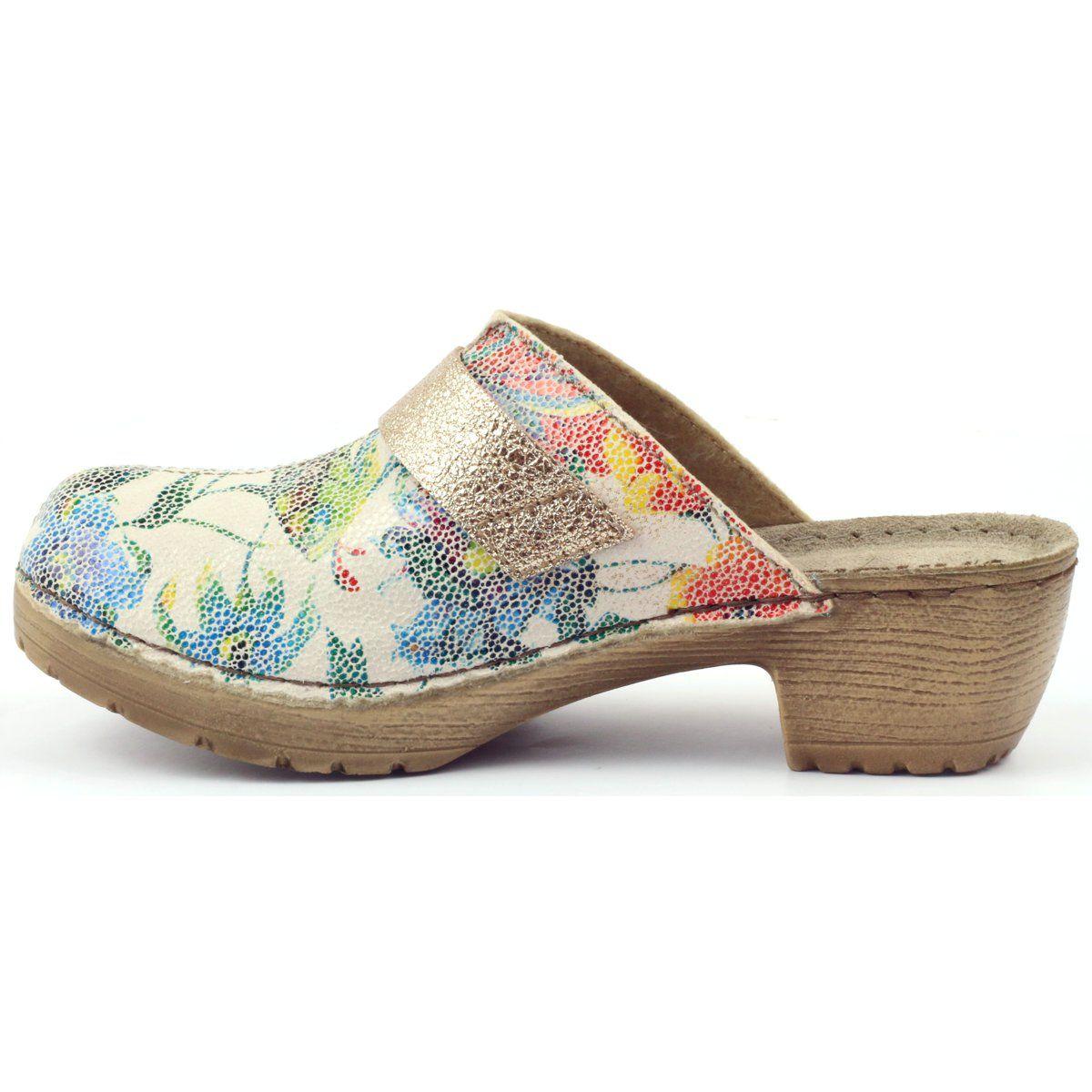 Klapki Drewniaki W Kwiaty Inblu Bl02 Brazowe Zolte Wielokolorowe Mule Shoe Heels Heeled Mules