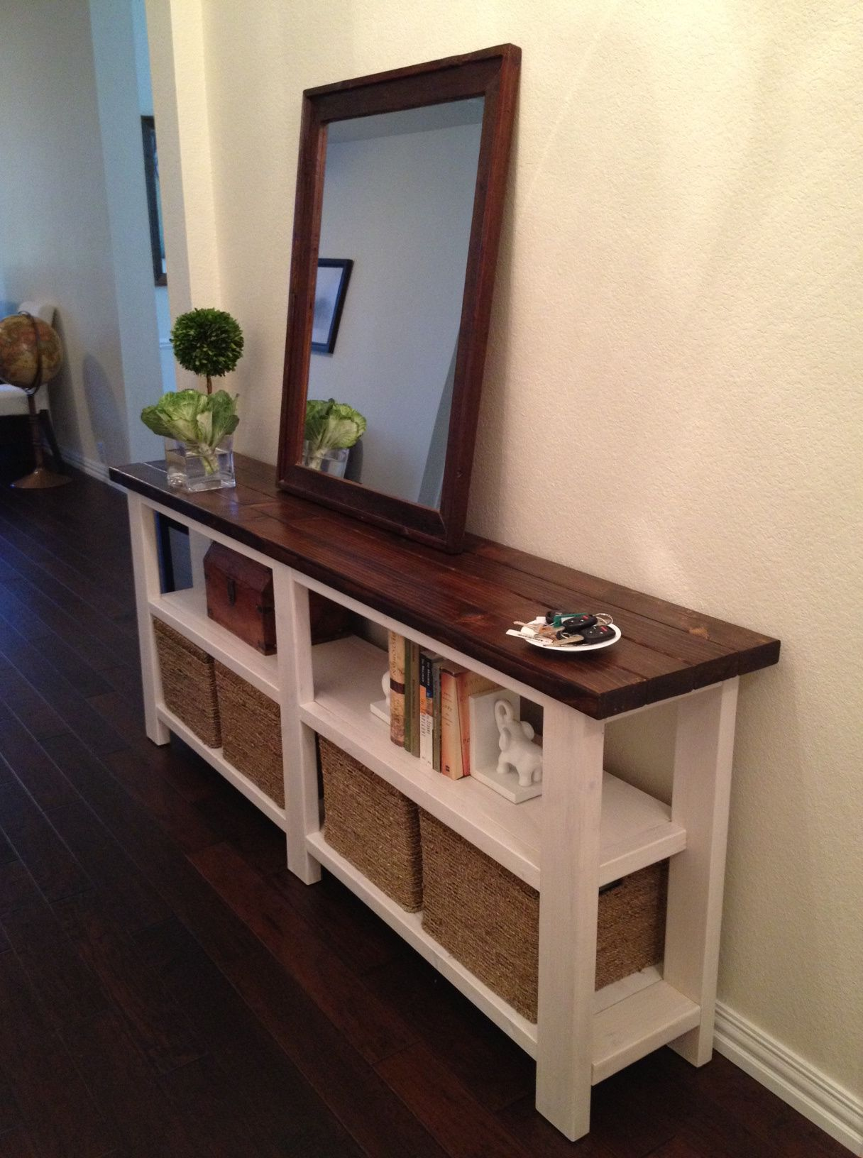 Thin entryway table with mirror u0026 storage - Love it! You could also just hang the mirror on the wall and have more table space. This would be a great place ... & Rustic Chic Console Table | Pinterest | Entryway tables Storage and ...