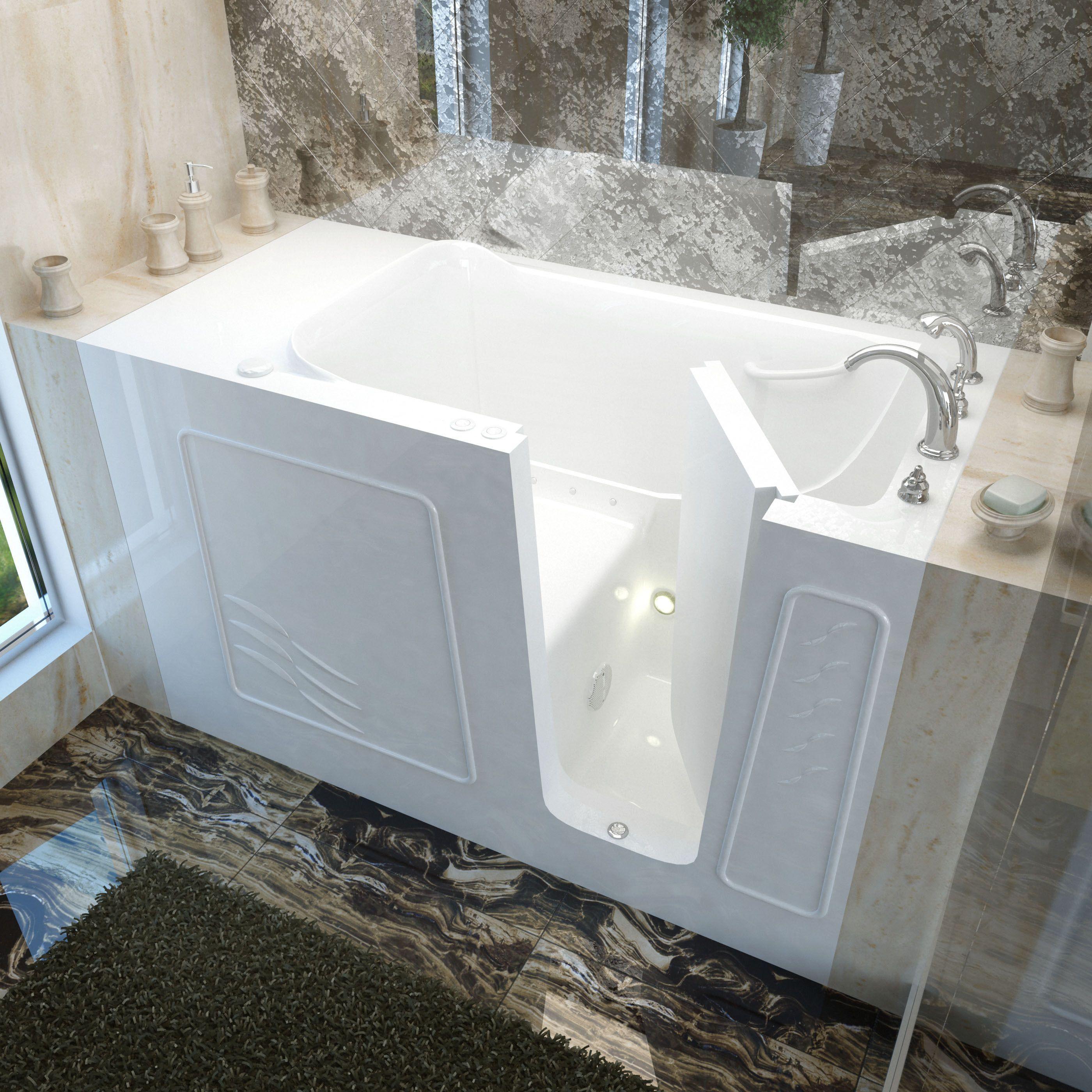 MediTub 30x60-inch Right Drain White Air Jetted Walk-In Bathtub ...