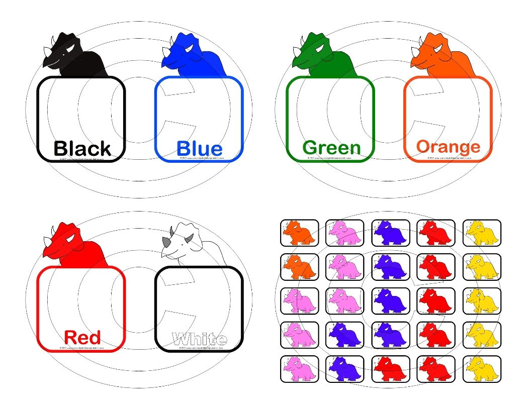 Free Printable Dinosaur Color Matching Game