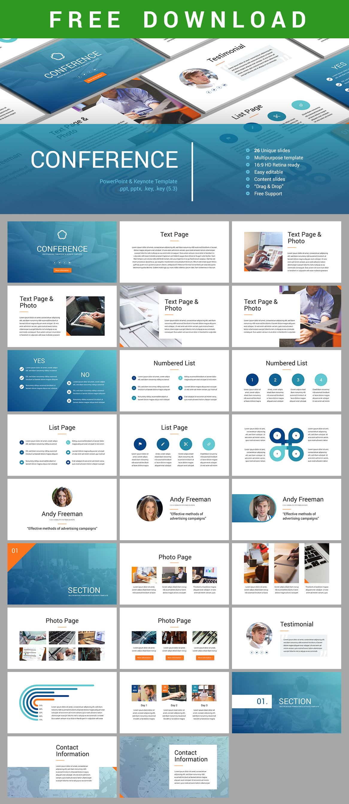 free download #conference #powerpoint & #keynote #template https, Modern powerpoint