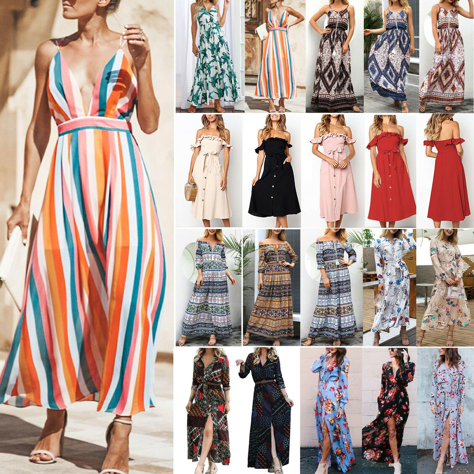 Damen Lang Kleid Sommer BOHO Maxikleid Blumen Strandkleid Party Cocktailkleider