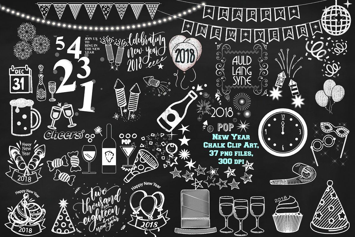 chalk new year 2018 clip art