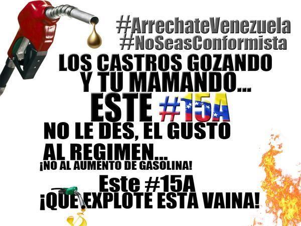 @alexvzlalibre @agioslmt @Aleja_sweet34 @lucho3008 @copipega @KarollaN2 #15A¡No Al Aumento! #ArrechateVenezuela CALLE pic.twitter.com/EtMJ5y4EHT