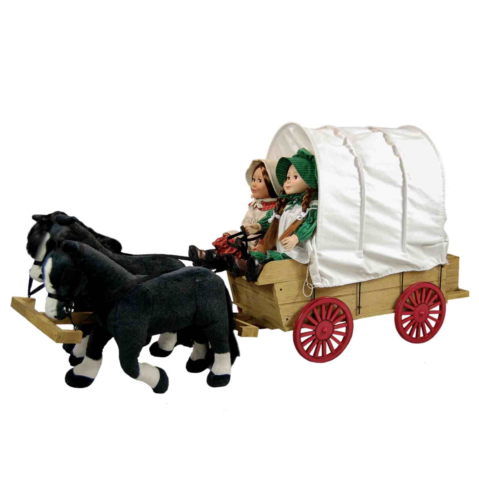 "Little House Covered Wagon,Sleigh /& Trunk Fits Two 18 /"" inch American Girl Dolls"