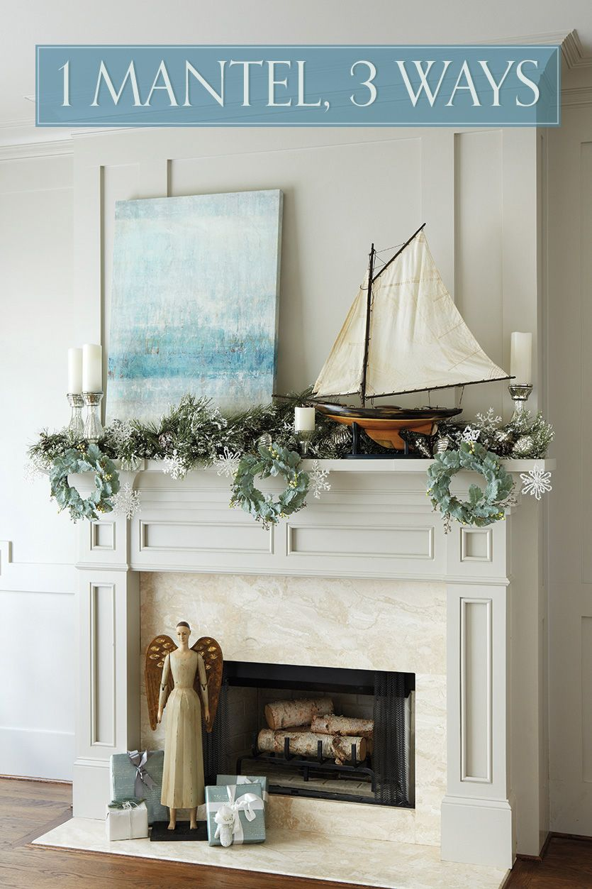 one mantel styled three ways for the holidays