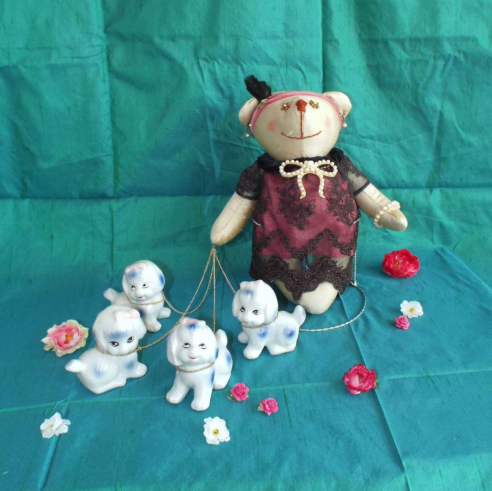 Art toy bear with her dogs stuffed toy teddy bear doll handmade unique silk  http://www.ebay.co.uk/itm/-/262706474401