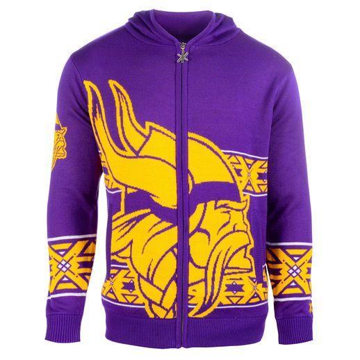 super popular 6fd5a 9f9b3 Klew Minnesota Vikings Purple Big Logo Full-Zip Hoodie ...
