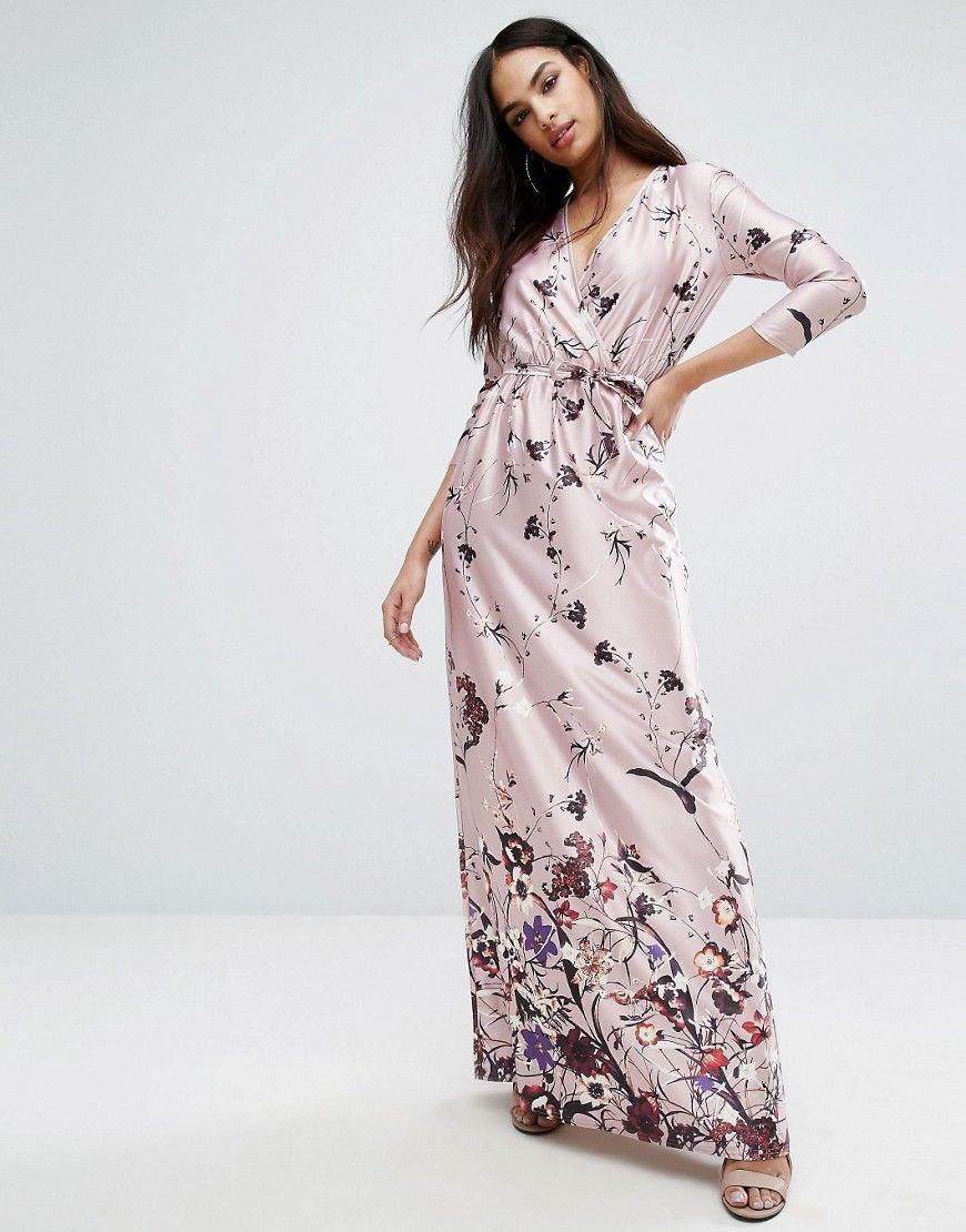 Club l sleeve v neck maxi dress in border print pink