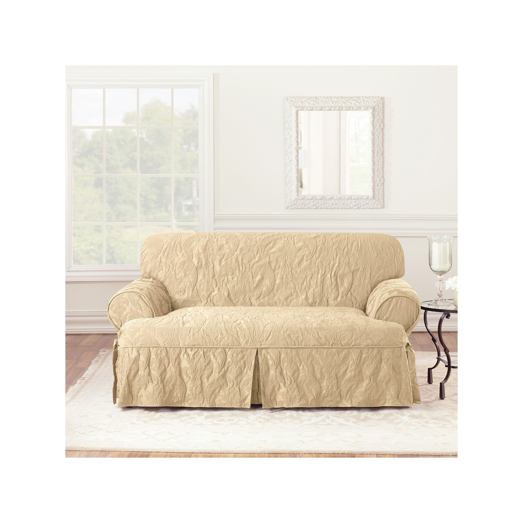Sure Fit Matelasse Damask T Cushion Loveseat Slipcover Products