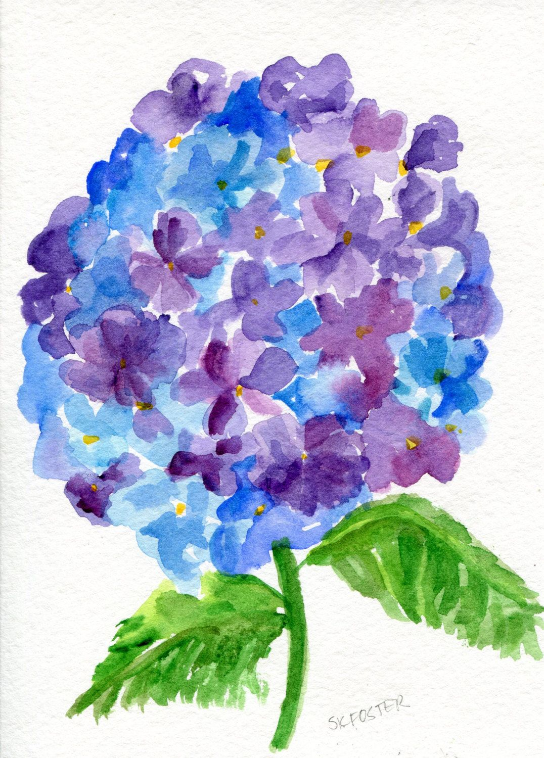 Purple Blue Hydrangeas Watercolor Painting Original 5 X 7 Flower Painting Watercolor A Hydrangea Painting Watercolor Flower Art Watercolor Flowers Paintings