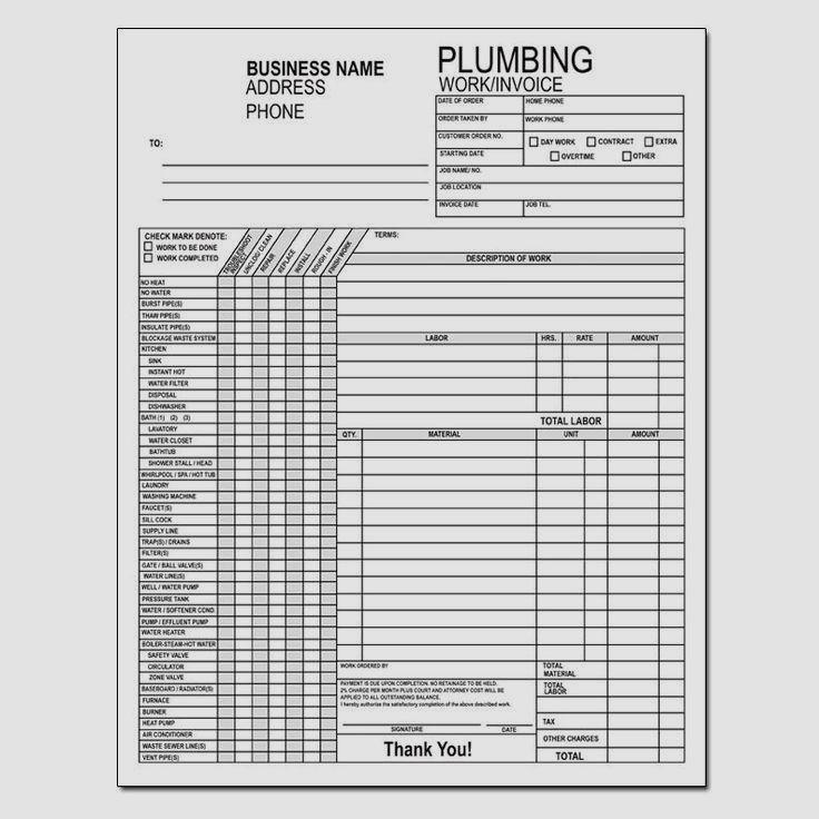 Plumbing work order invoice Plumbing contractor