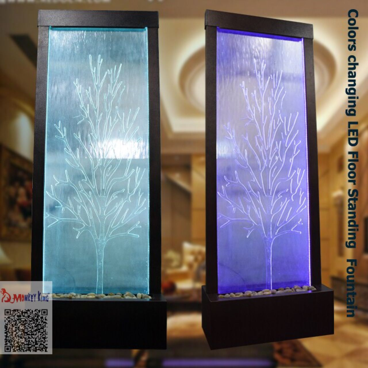 Floor Standing Indoor Waterfall Fountains With Colors Changing Led