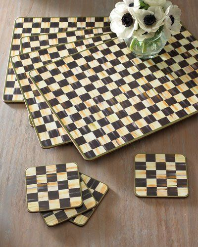 2nu0 Mackenzie Childs Courtly Check Placemats Set Of 4 Courtly Check Coasters Set Of 4 Mackenzie Childs Mckenzie And Childs Mackenzie Childs Inspired