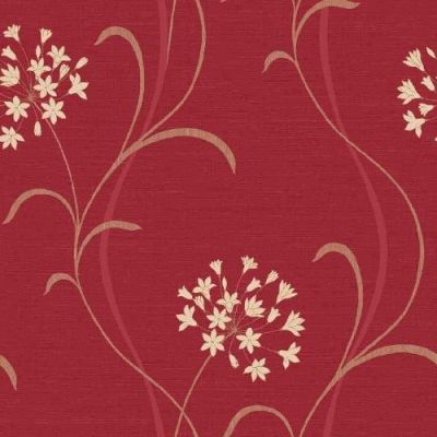 Mia Red (597711) - Arthouse Wallpapers - A pretty stylised agapanthus lily flower vertical trail.  Drawn here in cream on a deep red light weave textured background.  Please ask for sample for true colour match.