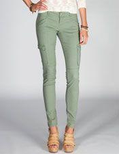 Womens Skinny Twill Cargo Pants -