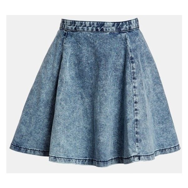 Topshop Moto Acid Wash Denim Skater Skirt (32 CAD) ❤ liked on Polyvore featuring skirts, bottoms, faldas, topshop, circle skirts, blue skirt, blue skater skirt, blue denim skirt and denim skater skirt