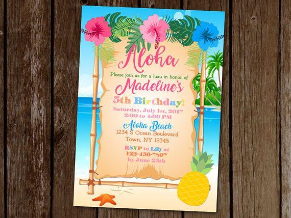 hawaiian luau invitation luau birthday party invitation party