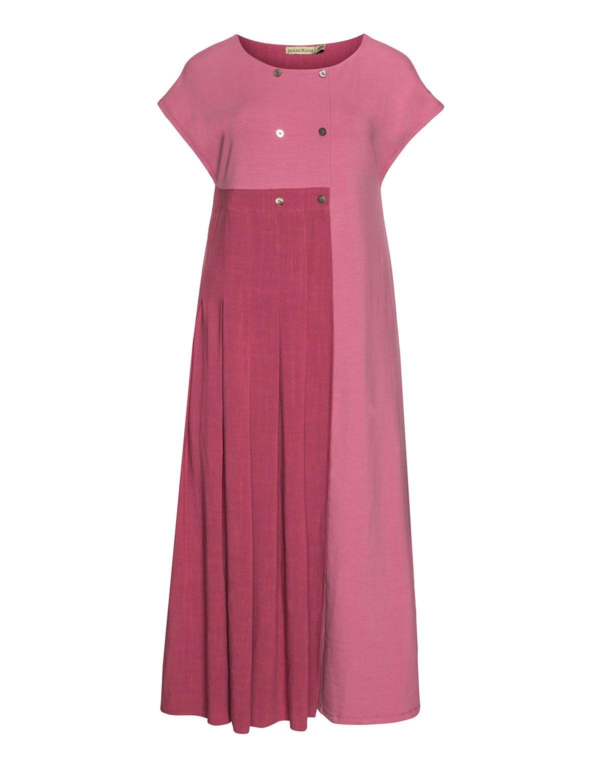 Isolde Roth Robe bicolore en mix de matières en framboise