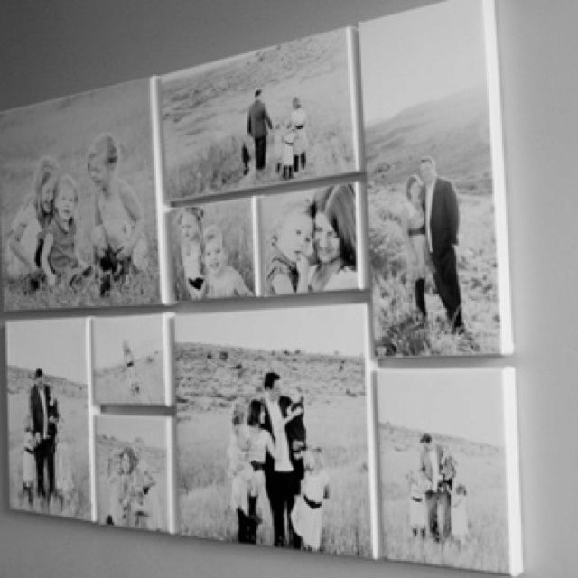 Wedding Canvas Ideas/family photos - would love a collage like this above my bed