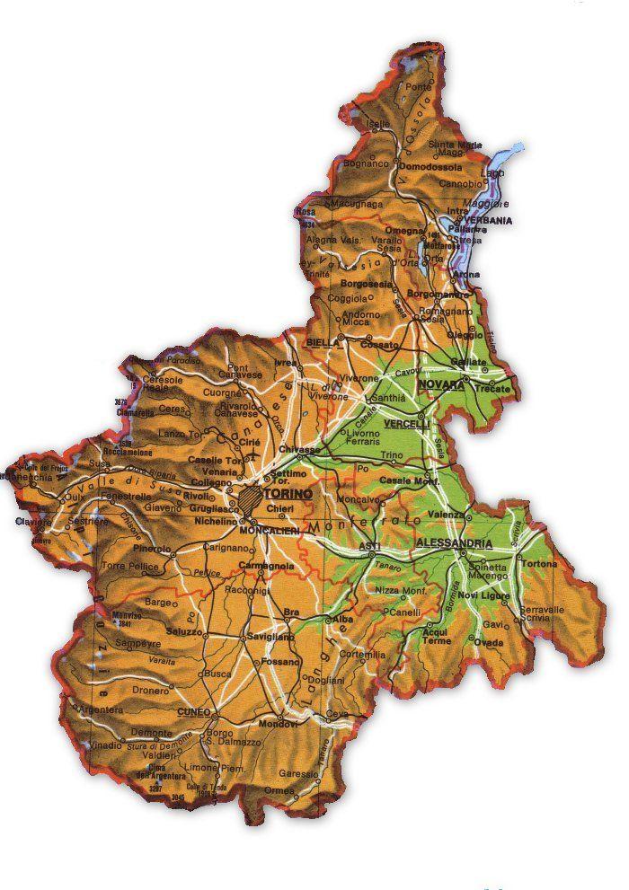 Regione Piemonte Cartina Fisica.Cartina Del Piemonte Geografia Immagini
