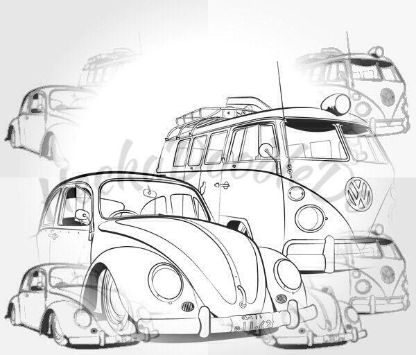 Warhol Art Auto Zeichnen Werkstatt Auto Vw Kafer