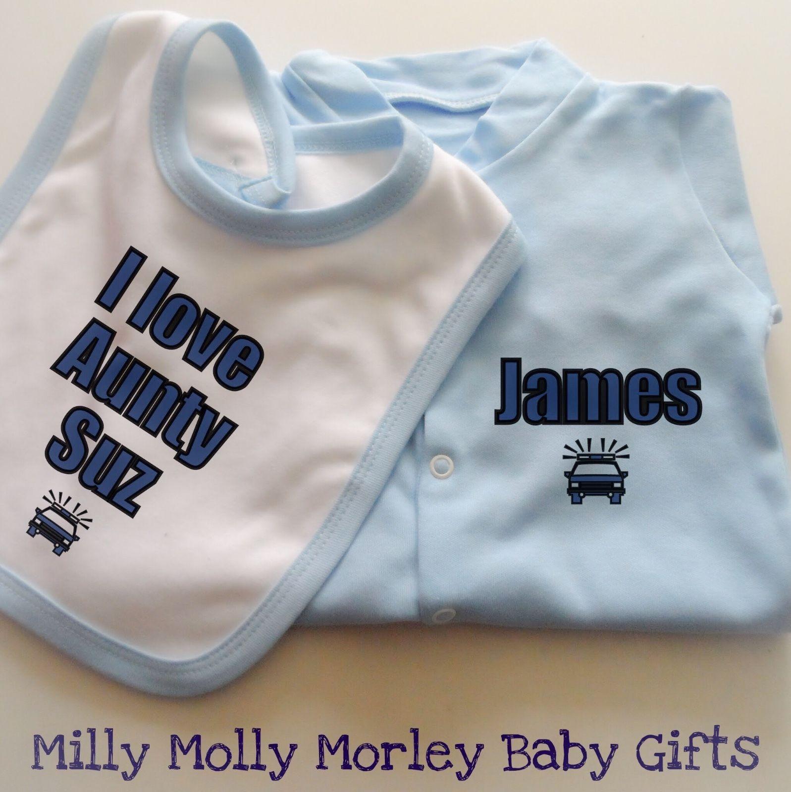 Personalised Baby Boys Clothing Babygrow & Bib Set Police Car Design