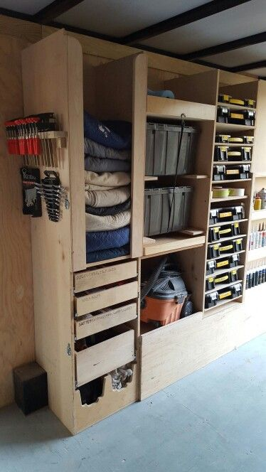 BEST  PLANNED WORK TRAILER. Layout your trailer so you have similar depth and functioning items together. Starting at the top left, going down: Moving blankets/drop cloths, safety supplies drawer (hearing protection, gloves, glasses, etc.)Blades drawer (coping, jig saw Sawzall, etc.) Circular saw w/blades drawer  (typically set up with masonry blade) rag bin, trash bags rolls. Two locking grey bins, one is electrical (outlets, wire, boxes, fish, etc.), other is finishing (brushes, roller…
