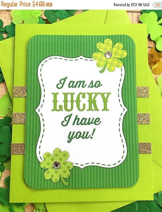 One Day St. Pats Sale Lucky To Have You St. Patrick's Day Greeting, Note Card, Irish, St. Patty's Day, Green, Four-Leaf Clover, March 17, Bl