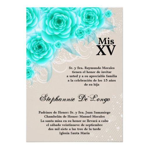 5x7 Aqua Roses Quinceanera Birthday Invitation Quince De Citlali