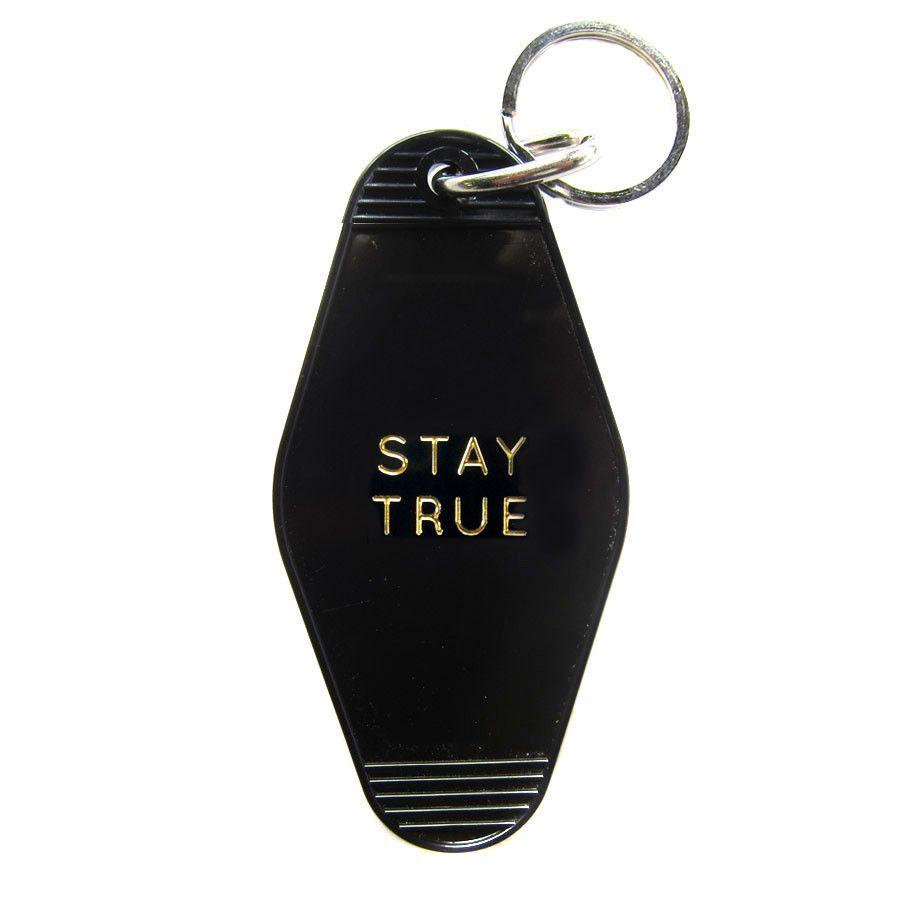 Vintage Style Hotel Motel Plastic Keychain Key Tag Fob Stay True Gold Key Tags Stay True Keychain