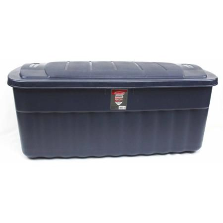 Rubbermaid 50 Gallon Jumbo Dark Indigo Metallic Roughneck Storage Box 2 Piece Walmart Com Rubbermaid Storage Plastic Container Storage Rubbermaid Storage Bins