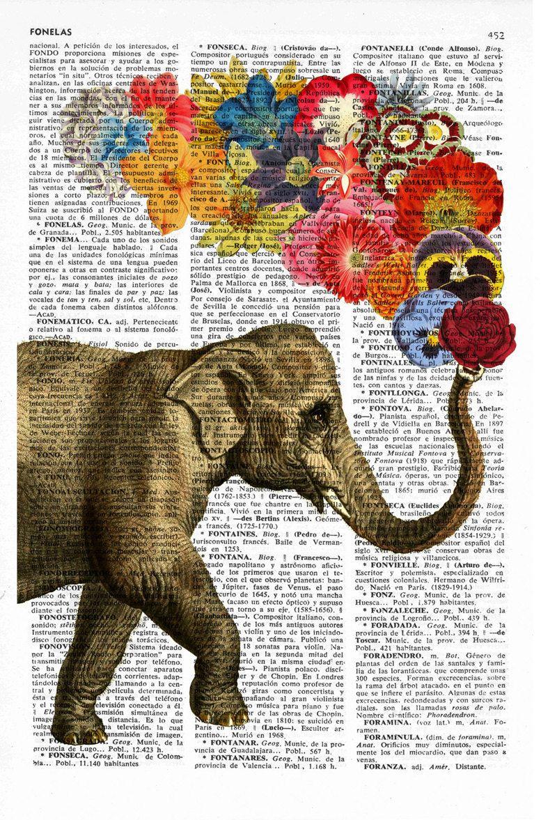 Elephant with Flowers -wall art Wall decor art prints - Elephant ...
