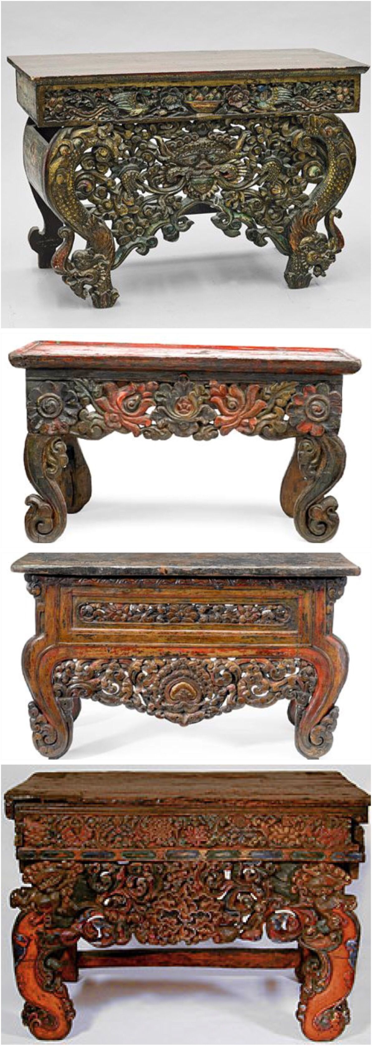 Different Examples Of Tibetan Altar Table 15th 17th Century. From Private  Collections And Pacific
