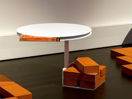 French Designer Fx Balléry Has Created A Series Of Tables And A Coat Hanger  That Use Bricks As Ballast.