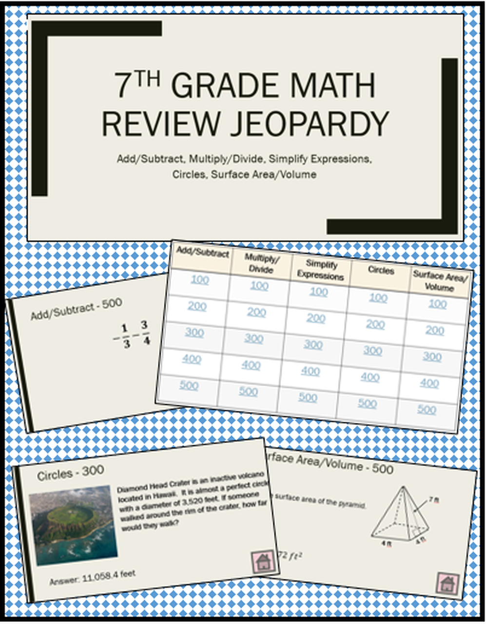 7th Grade Math Review Jeopardy Game 7th Grade Math Math Review Math [ 1280 x 997 Pixel ]