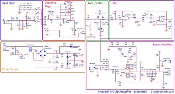 Marshall MG10 Schematic Blocks | Marshall amps MG series | Pinterest ...