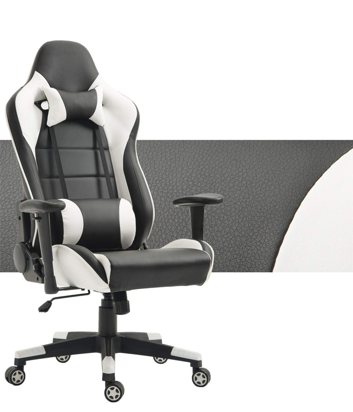 Gaming Chair Adjustable Swivel Chair High Back Racing Computer Chair PU Leather Desk Chair Ergonomic Reclining E-Sports Chair with Headrest and Lumbar Support Black