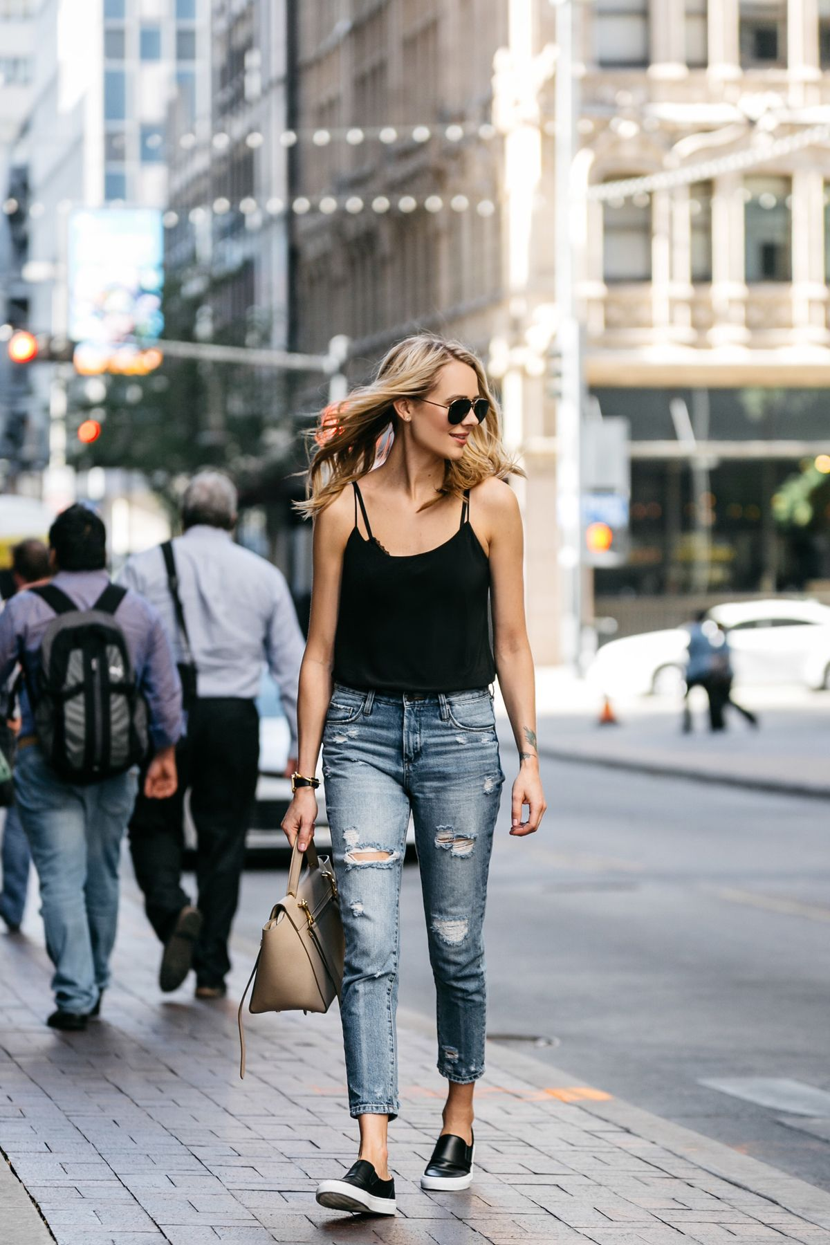 Black slip on sneakers outfit