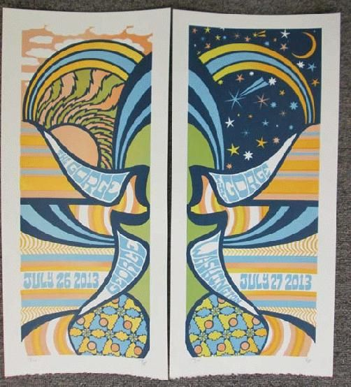 9a9ea3ac554 Set of two original silkscreen concert posters for Phish at The Gorge in  George